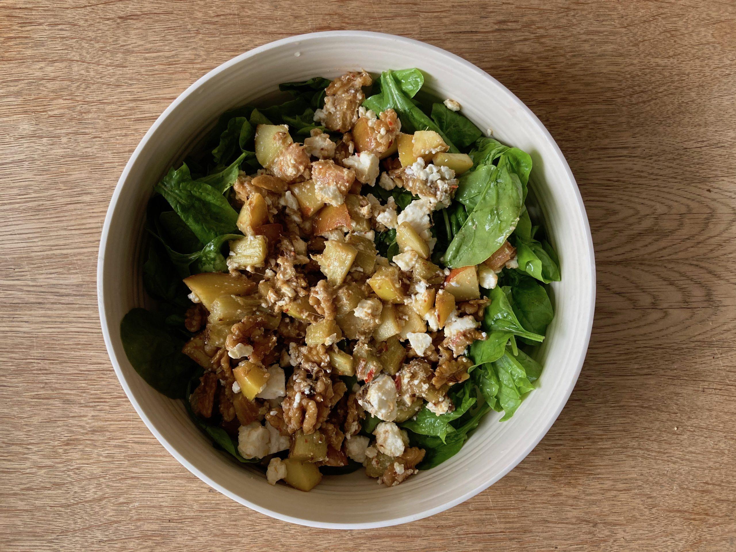 Spinat Rhabarber Salat